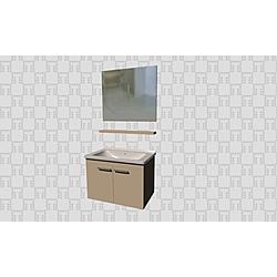 Noventa 80Cm Set With Door (Wb Cabinet + Plain Mirror + Shelf) Glossy Cappuccino Kale Banyo Noventa