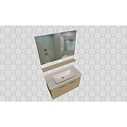Noventa 100Cm Set With Door (Wb Cabinet + Plain Mirror + Shelf) Glossy Cappuccino Kale Banyo Noventa