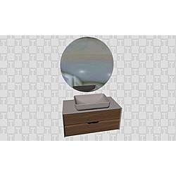 Zero 2.0 100 Cm Set (Wb Cabinet+Washbasin+Mirror) AnthraciteWalnut Kale Banyo Zero 2.0