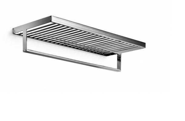 Shelf with towel rail 600 mm - chromed brass - Kolekce Skuara od Lineabeta   Tilelook
