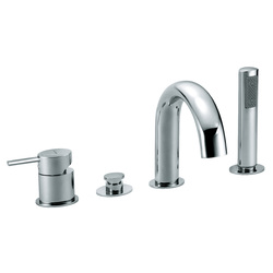 Deck mounted bath mixer with diverter, pull-out shower and spout. F.lli Frattini Brera