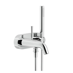 Tub External single control Chrome Finish Automatic deviator Fixed hand shower support Single jet hand shower Nobili Likid