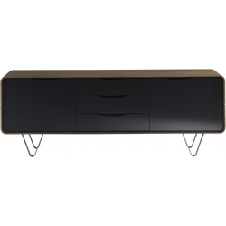 00g70 sideboard on feet 2 doors 3 drawers walnut black lacquer Ligne Roset Cemia