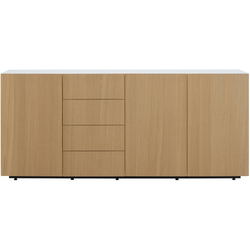 00wwi sideboard 3 doors 4 drawers natural finish sawn oak white lacquer Ligne Roset Et Cetera