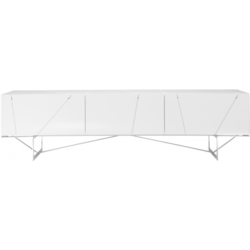 00hrc sideboard 1 drawer 1 flap door chromed steel feet gloss white lacquer Ligne Roset Lines