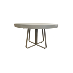 00yxg Dining Table White Marble Effect Ceramic Stoneware 2 White Fenix  Extensions Brilliant Chromed Base