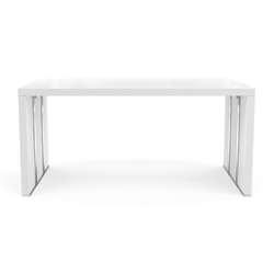 00e06 dining table with extension leaf satin white lacquer Ligne Roset Cineline