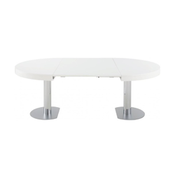 00hi1 dining table satin white lacquered top matching extension chromed base Ligne Roset Craft 2