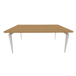 00wr7 dining table white lacquered base top natural oak Ligne Roset Odessa