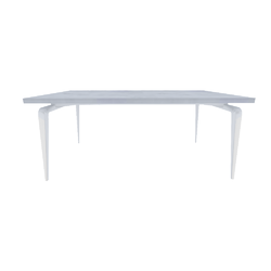 00ym3 dining table white lacquered base white ceramic stoneware top Ligne Roset Odessa
