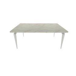 00ym4 dining table white lacquered base top in white marble effect ceramic stoneware Ligne Roset Odessa