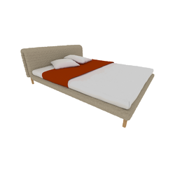 00p64 bed 160 x 200 low headboard low feet Ligne Roset Ruché