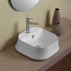 Square counter top wash basin cm 42 with tap hole  Simas Sharp