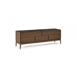 MUNARI CHEST DRAWERS  220X53 H75 SMOKED OAK/DARK IMPERADOR Natuzzi Night & Day Furniture