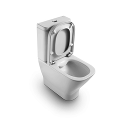 The Gap Compact back to wall vitreous china Rimless close-coupled WC with dual outlet Roca The Gap