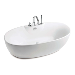 Virginia Oval free standing acrylic one piece bath with bath-shower mixer Roca Virginia