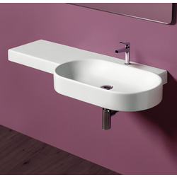 Rectangular wal hung washbasin 115 with left shelf pre-punched for single tap hole. Simas Flow