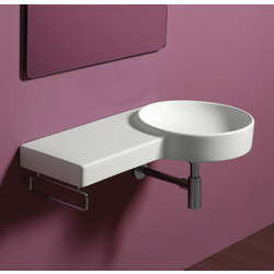 Round wall hung washbasin 87 with left shelf pre-punched for single tap hole. Simas Flow
