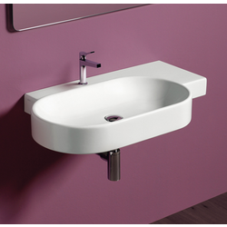 Oval wall hung washbasin 88 with right shelf pre-punched for single tap hole. Simas Flow