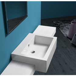 Semi-inset washbasin 70 pre-punched for single tap hole Simas Frozen