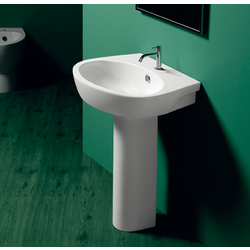 Washbasin 65 with single tap hole wall hung or on pedestal. Simas LFT Spazio