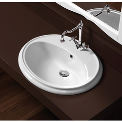 Single hole fully inset washbasin 61 pre- punched for three tap holes. Simas Arcade