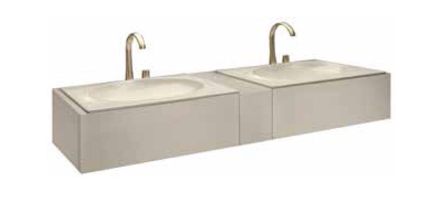 Bath furniture 1550 2 washbasins undercounter 61, top drawer - Armani / Roca kollekció / Roca   Tilelook