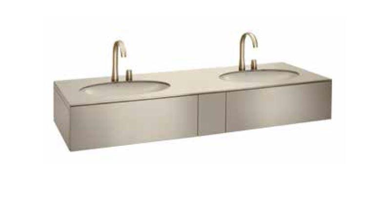 Bath furniture 1800 2 washbasins undercounter 61, top drawer-Armani / Roca colecții de la  Roca | Tilelook
