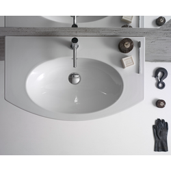 Basin arranged one tap hole, Basin arranged one tap hole 80cm, provided with overflow hole. Wall-hung  Globo 4ALL