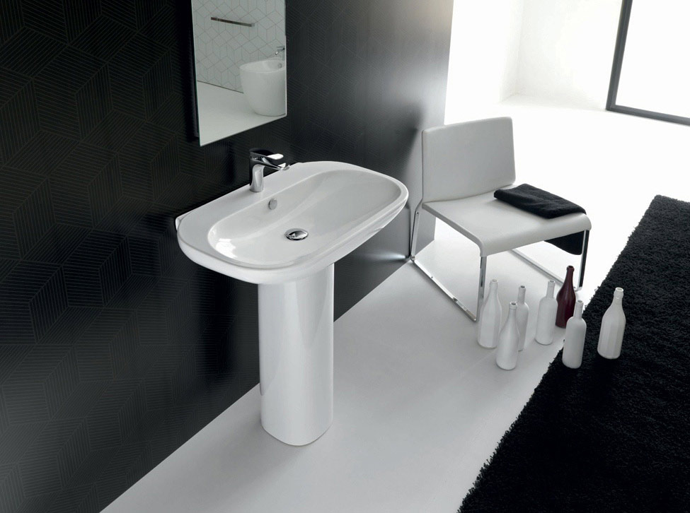 Hidra Ceramica Serie Abc.Lavabo Con Colonna Collection Abc By Hidra Ceramica Tilelook