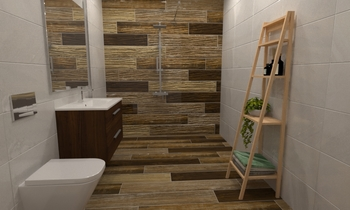 Small en suite 1 Classic Bathroom tile works design