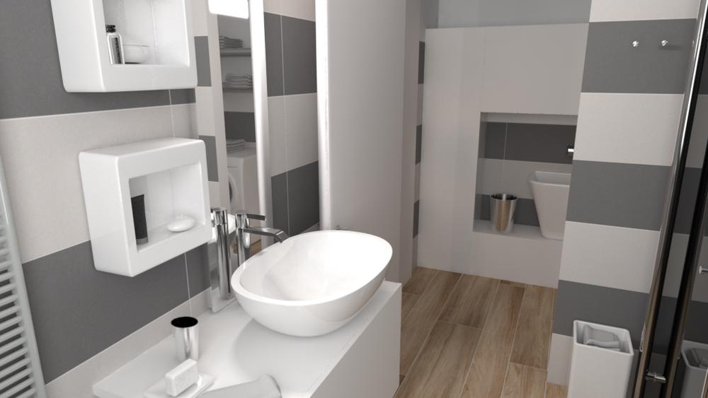 bagno con antibagno uso lavanderia con variante colore de... | Tilelook