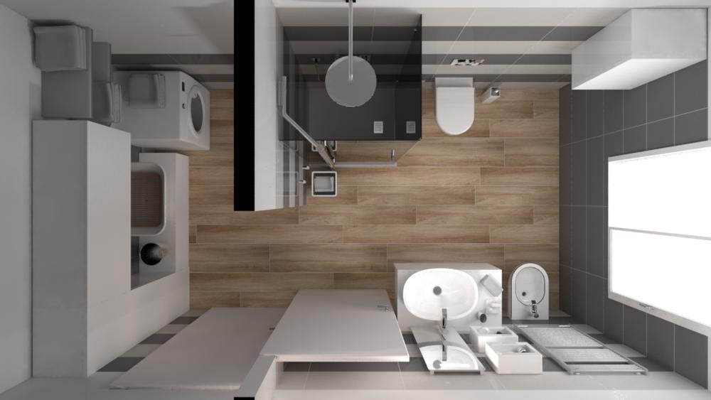 Tilelook bagno con antibagno uso lavanderia con variante colore del pavimento rif v s - Bagno con lavanderia ...