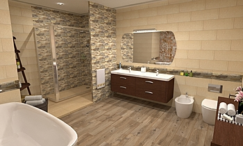 Baño grande beige (big be... Mediterranean Bathroom BdB  TELLO DE ARCO