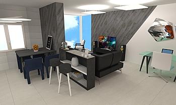 Salón y cocina Moderno Sala BdB  TELLO DE ARCO