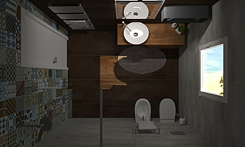 BAGNO PRINCIPALE Modern Bathroom BIODOMUS  SRL