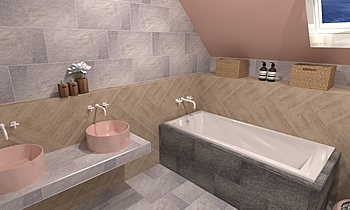 Artistica Due, Iroko beig... Modern Bathroom Terrakotta  Csempecentrum