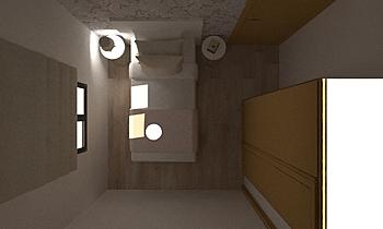 Dormitorio pequeño María Contemporary Bedroom Orballo Decoración