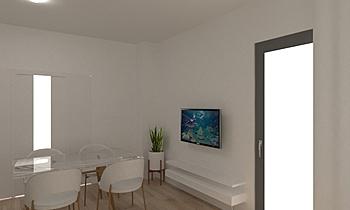 Vestíbulo, salón y comedo... Contemporary Living room Orballo Decoración