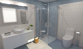 Pop Tile Sixties Celeste ... Moderní Koupelna Virtual Showroom