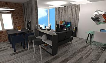 Salón y cocina con ladril... Moderne Wohnzimmer BdB  TELLO DE ARCO