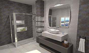 Baño estándar con columna... Contemporain Salle de bain BdB  TELLO DE ARCO