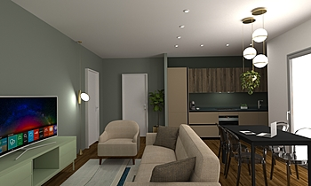 L1S Moderno Sala de estar LAKD Lattanzi Kitchen Design