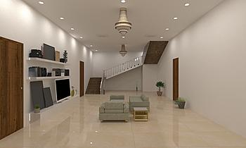 Lobby gf living room 5a Clássico Sala de estar Mandar Patange