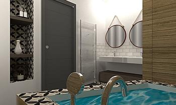 sdb NIGHT LUX Contemporary Bathroom Nathalie  Faivre
