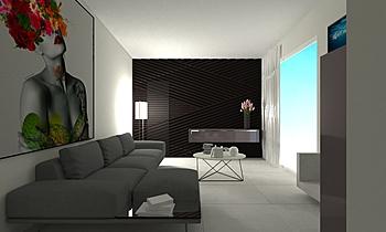 LIVING-CUCINA-INGRESSO Contemporary Living room Raffaele  Natale