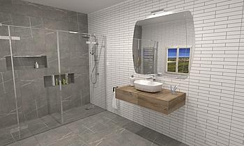 Baño marmoleado y ladrill... Modern Bathroom BdB  TELLO DE ARCO