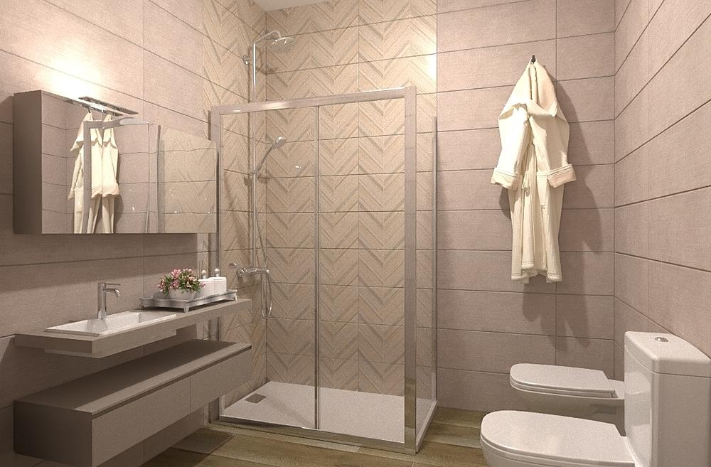 BAÑO TAGLIO ROBLE Y BITEX... Modern Bathroom BdB MATERIALES OÑATE Y RODRIGUEZ S.L.