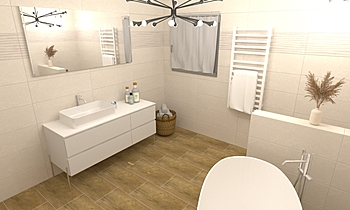 Fürdő térben álló káddal Modern Bathroom Gergő Fejes