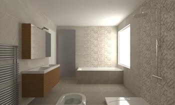 Tilelook badkamer schuine wand vloer mud muur islanda